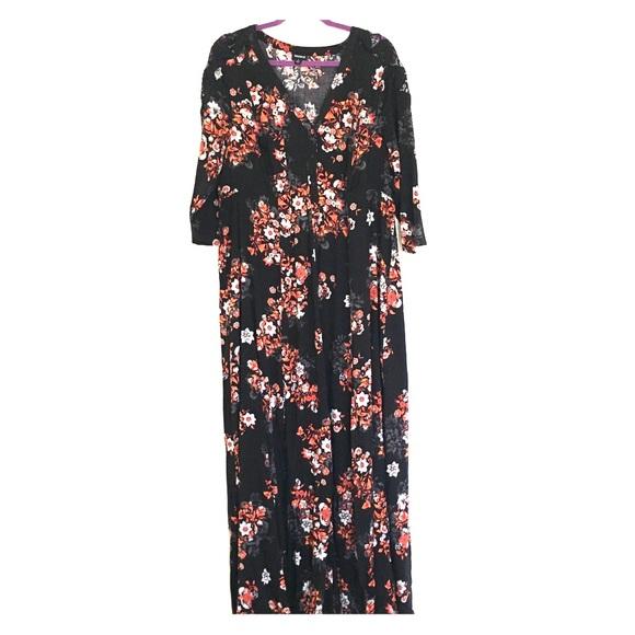 299f9b6821f Floral 3 4 sleeve maxi dress. M 5adf4e97caab44b1ef62e116